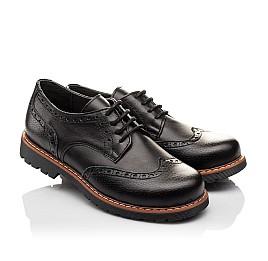 Детские туфли (резиновые шнурки) Woopy Orthopedic черные для мальчиков натуральная кожа размер 31-39 (3082) Фото 1