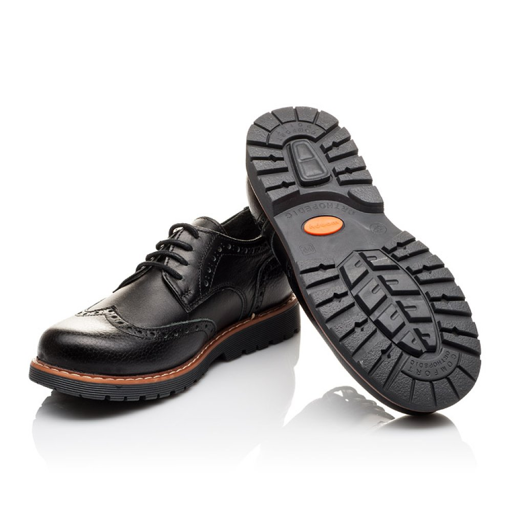 Детские туфлі (гумові шнурки) Woopy Orthopedic чорні для мальчиков натуральна шкіра размер 31-39 (3082) Фото 2