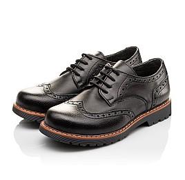 Детские туфли (резиновые шнурки) Woopy Orthopedic черные для мальчиков натуральная кожа размер 31-39 (3082) Фото 3