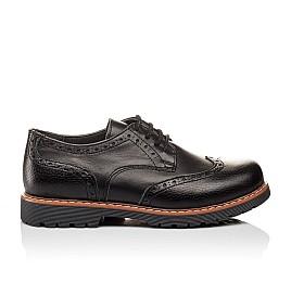 Детские туфли (резиновые шнурки) Woopy Orthopedic черные для мальчиков натуральная кожа размер 31-39 (3082) Фото 4