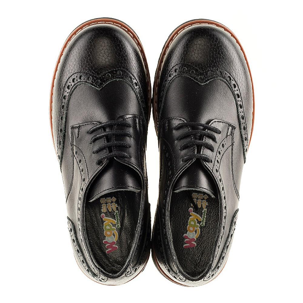 Детские туфлі (гумові шнурки) Woopy Orthopedic чорні для мальчиков натуральна шкіра размер 31-39 (3082) Фото 5