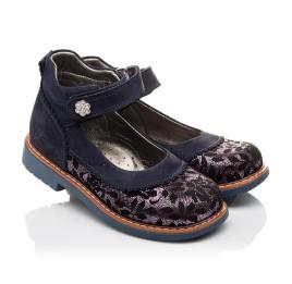 Детские туфли ортопедические Woopy Orthopedic темно-синие для девочек натуральный нубук размер - (3085) Фото 1