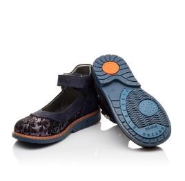 Детские туфли ортопедические Woopy Orthopedic темно-синие для девочек натуральный нубук размер - (3085) Фото 2
