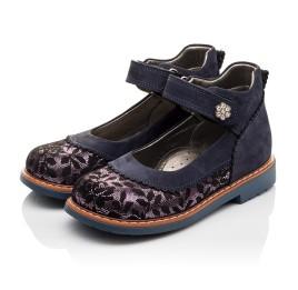 Детские туфли ортопедические Woopy Orthopedic темно-синие для девочек натуральный нубук размер - (3085) Фото 3