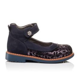 Детские туфли ортопедические Woopy Orthopedic темно-синие для девочек натуральный нубук размер - (3085) Фото 4
