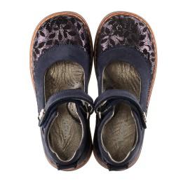 Детские туфли ортопедические Woopy Orthopedic темно-синие для девочек натуральный нубук размер - (3085) Фото 5