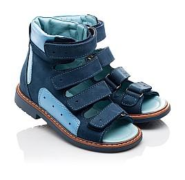 Детские ортопедичні босоніжки (з високим берцем) Woopy Orthopedic синие, голубые для мальчиков натуральный нубук и кожа размер 19-19 (3107) Фото 1