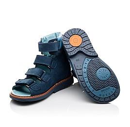 Детские ортопедические босоножки (с высоким берцем) Woopy Orthopedic синие, голубые для мальчиков натуральный нубук и кожа размер 18-19 (3107) Фото 2