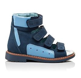 Детские ортопедичні босоніжки (з високим берцем) Woopy Orthopedic синие, голубые для мальчиков натуральный нубук и кожа размер 19-19 (3107) Фото 4