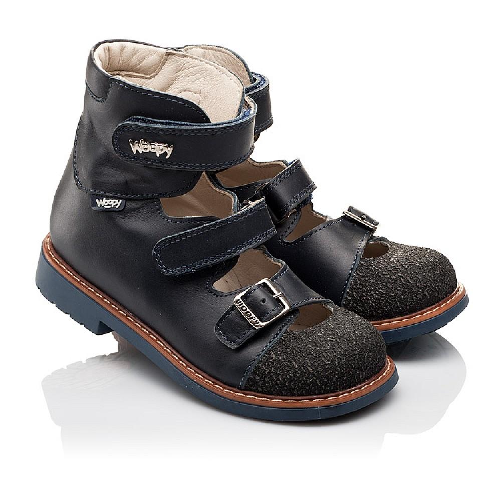 Детские ортопедические туфли (с высоким берцем) Woopy Orthopedic синие для мальчиков натуральная кожа размер 26-33 (3116) Фото 1
