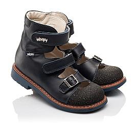Детские ортопедические туфли (с высоким берцем) Woopy Orthopedic синие для мальчиков натуральная кожа размер - (3116) Фото 1