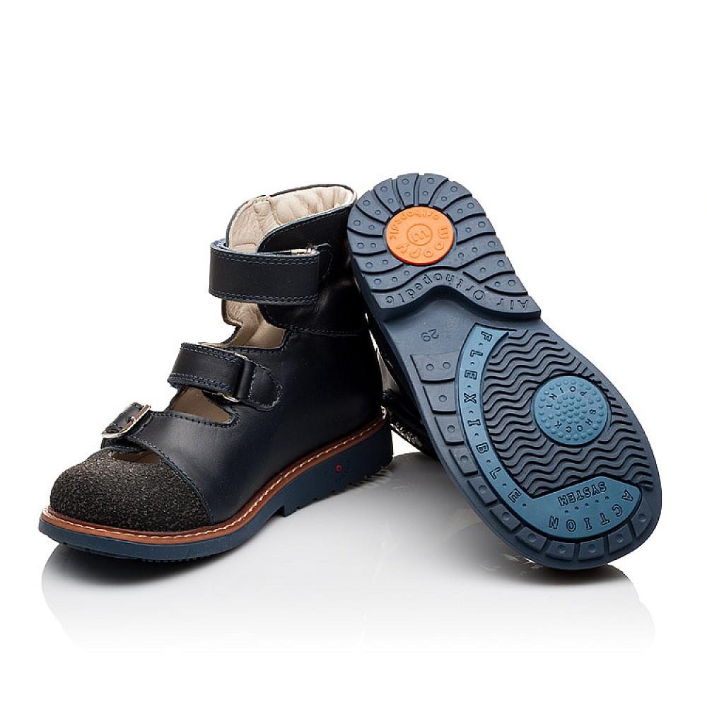 Детские ортопедические туфли (с высоким берцем) Woopy Orthopedic синие для мальчиков натуральная кожа размер 26-33 (3116) Фото 2