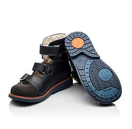 Детские ортопедические туфли (с высоким берцем) Woopy Orthopedic синие для мальчиков натуральная кожа размер - (3116) Фото 2