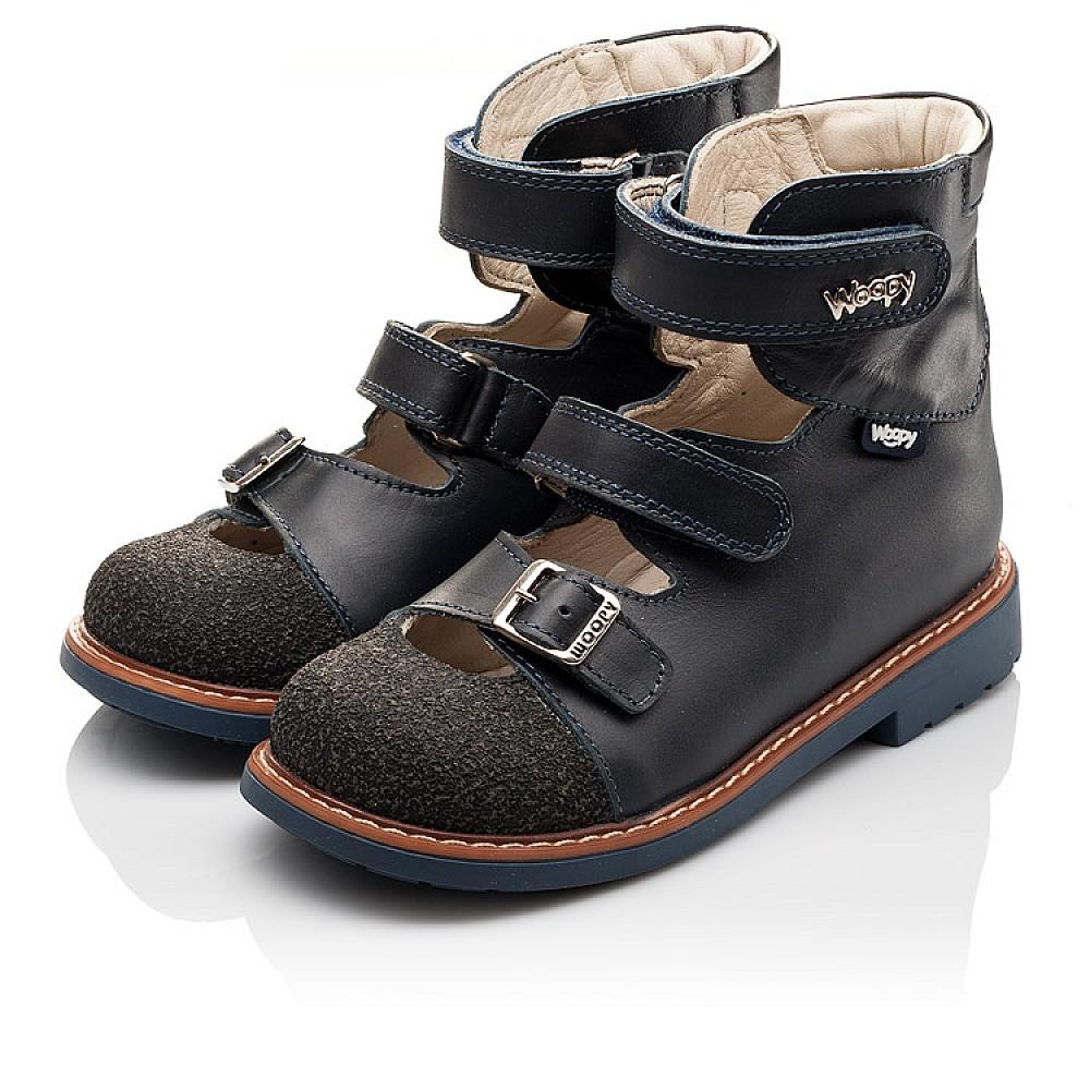Детские ортопедические туфли (с высоким берцем) Woopy Orthopedic синие для мальчиков натуральная кожа размер 26-33 (3116) Фото 3