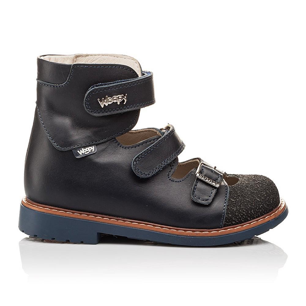 Детские ортопедические туфли (с высоким берцем) Woopy Orthopedic синие для мальчиков натуральная кожа размер 26-33 (3116) Фото 4