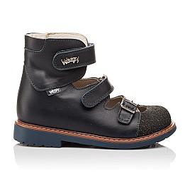 Детские ортопедические туфли (с высоким берцем) Woopy Orthopedic синие для мальчиков натуральная кожа размер - (3116) Фото 4