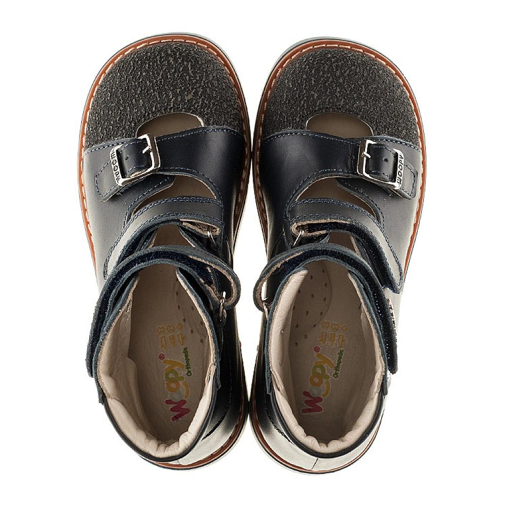 Детские ортопедические туфли (с высоким берцем) Woopy Orthopedic синие для мальчиков натуральная кожа размер 26-33 (3116) Фото 5