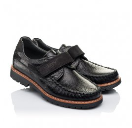 Детские туфли Woopy Orthopedic черные для мальчиков натуральная кожа и нубук размер - (3134) Фото 1