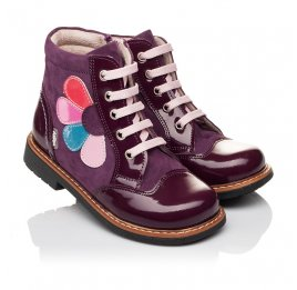 Детские высокие демисезонные ботинки Woopy Orthopedic фиолетовый для девочек натуральная лаковая кожа и нубук размер 18-18 (3139) Фото 1
