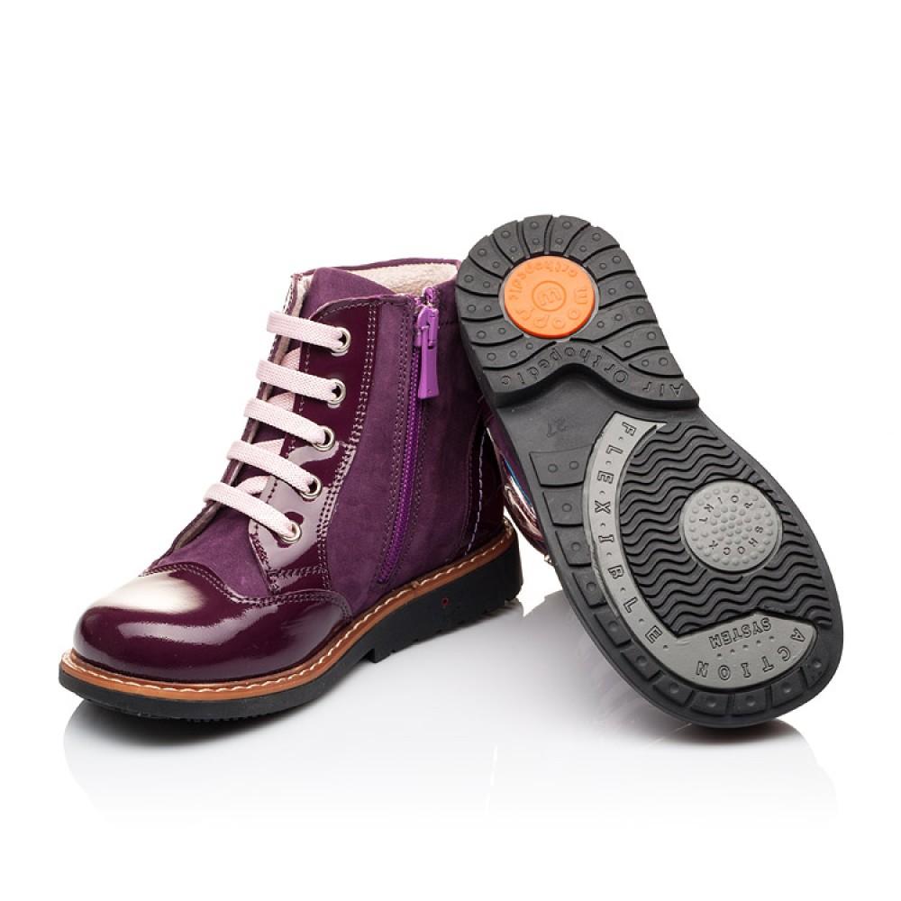 Детские высокие демисезонные ботинки Woopy Orthopedic фиолетовый для девочек натуральная лаковая кожа и нубук размер 18-30 (3139) Фото 2