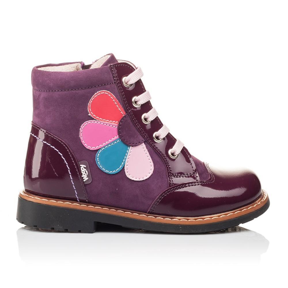 Детские высокие демисезонные ботинки Woopy Orthopedic фиолетовый для девочек натуральная лаковая кожа и нубук размер 18-30 (3139) Фото 3