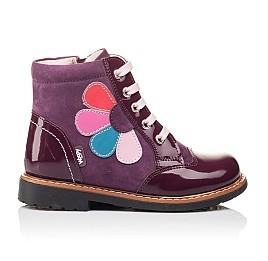 Детские высокие демисезонные ботинки Woopy Orthopedic фиолетовый для девочек натуральная лаковая кожа и нубук размер 18-18 (3139) Фото 3