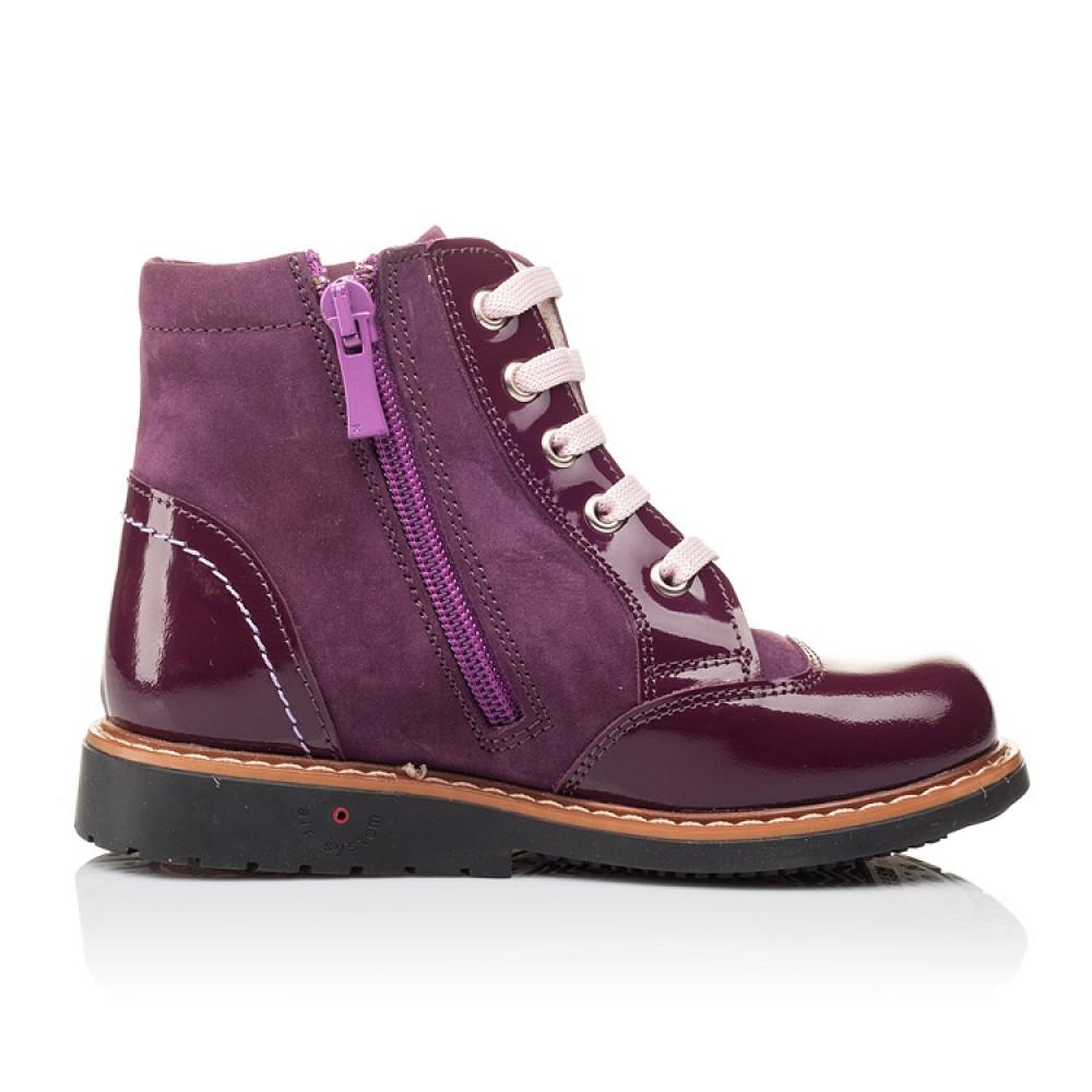 Детские высокие демисезонные ботинки Woopy Orthopedic фиолетовый для девочек натуральная лаковая кожа и нубук размер 18-30 (3139) Фото 4