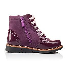 Детские высокие демисезонные ботинки Woopy Orthopedic фиолетовый для девочек натуральная лаковая кожа и нубук размер 18-18 (3139) Фото 4