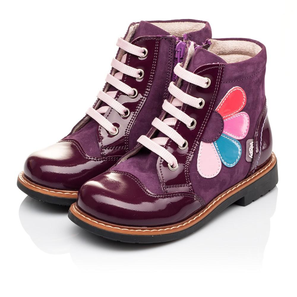 Детские высокие демисезонные ботинки Woopy Orthopedic фиолетовый для девочек натуральная лаковая кожа и нубук размер 18-30 (3139) Фото 5