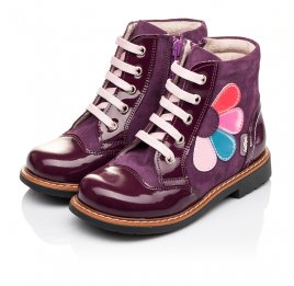 Детские высокие демисезонные ботинки Woopy Orthopedic фиолетовый для девочек натуральная лаковая кожа и нубук размер 18-18 (3139) Фото 5