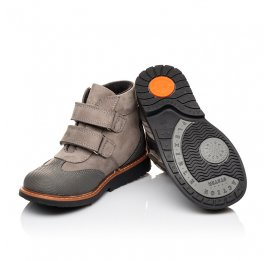 Детские демисезонные ботинки Woopy Orthopedic серые для мальчиков натуральный нубук и кожа размер 20-21 (3140) Фото 2