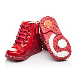 Детские высокие демисезонные ботинки Woopy Orthopedic красные для девочек натуральная лаковая кожа и нубук размер 18-18 (3144) Фото 2