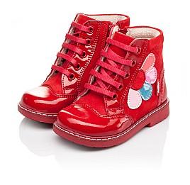 Детские высокие демисезонные ботинки Woopy Orthopedic красные для девочек натуральная лаковая кожа и нубук размер 18-18 (3144) Фото 3