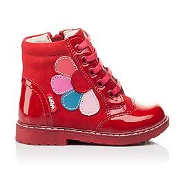 Детские высокие демисезонные ботинки Woopy Orthopedic красные для девочек натуральная лаковая кожа и нубук размер 18-18 (3144) Фото 4