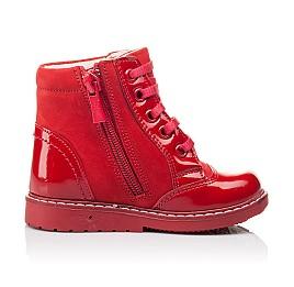 Детские высокие демисезонные ботинки Woopy Orthopedic красные для девочек натуральная лаковая кожа и нубук размер 18-18 (3144) Фото 5