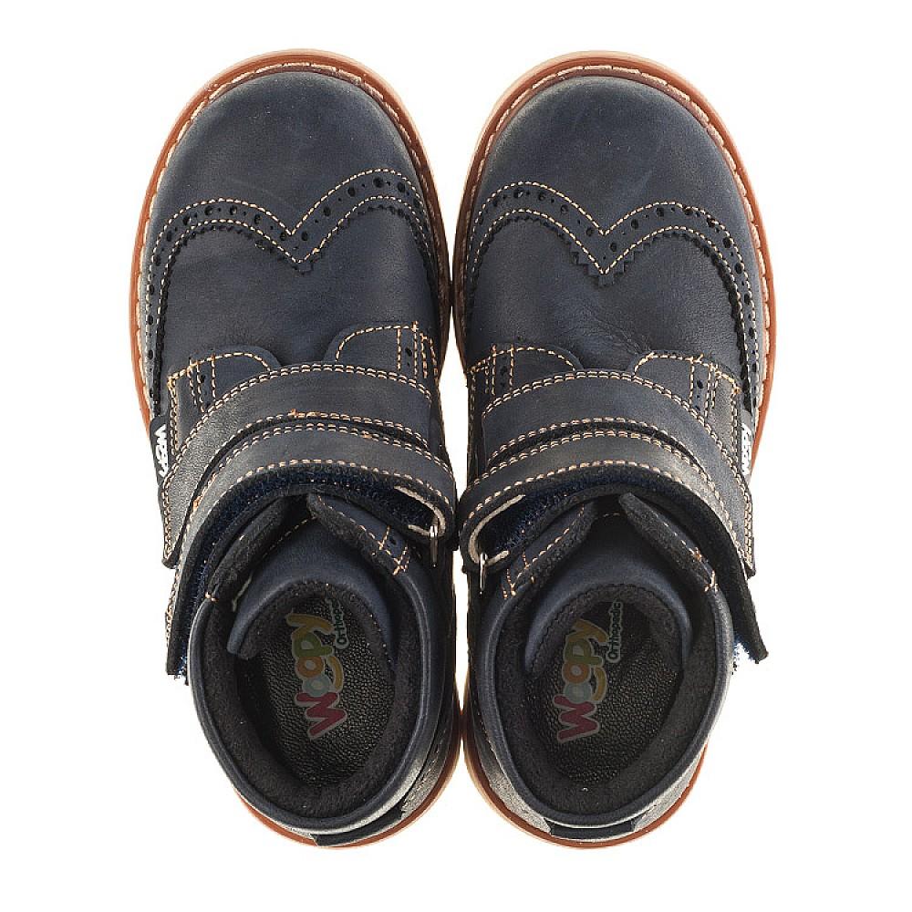 Детские высокие демисезонные ботинки Woopy Orthopedic синий для мальчиков натуральный нубук размер 20-30 (3153) Фото 5