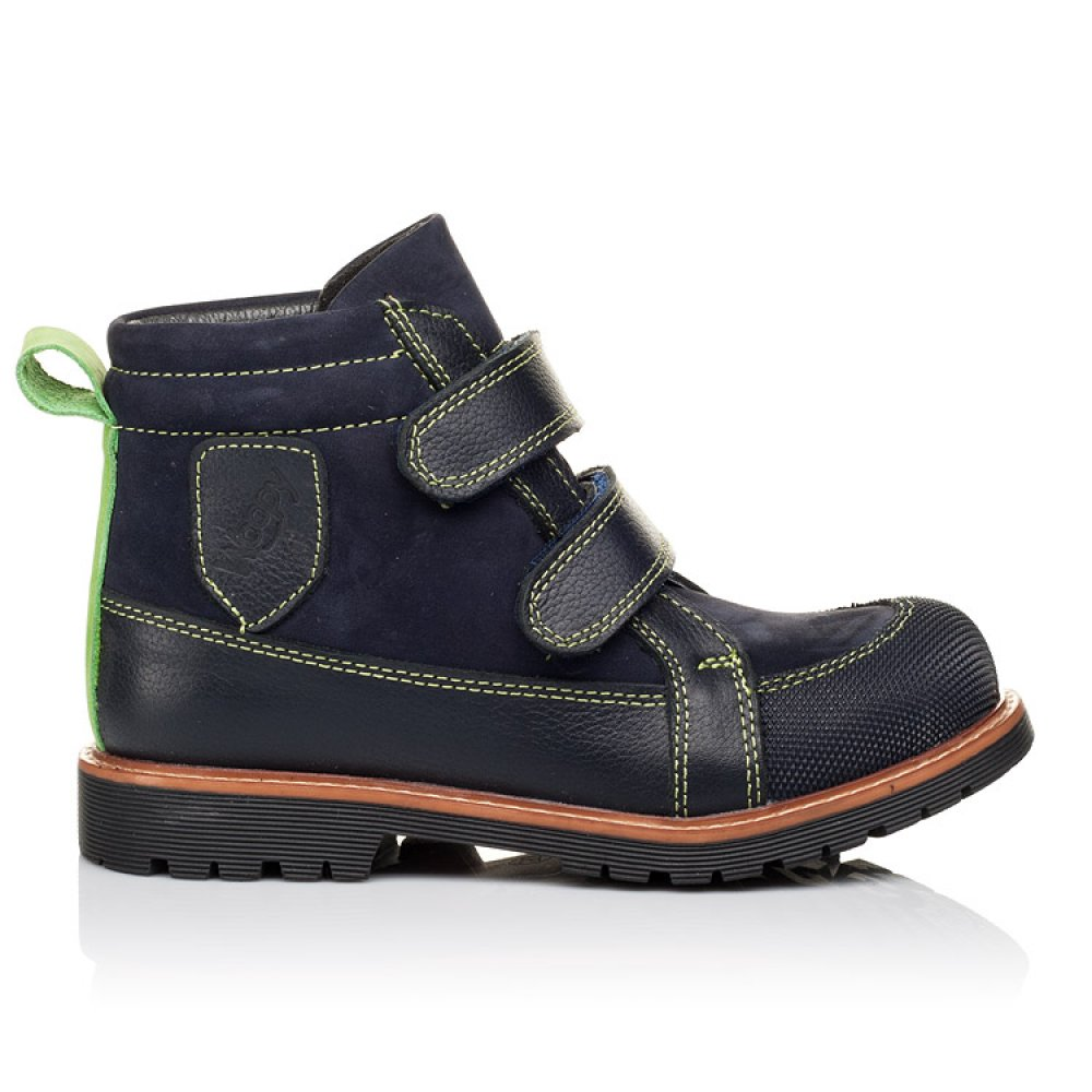 Детские демисезонные ботинки Woopy Orthopedic темно-синие для мальчиков натуральный нубук размер 26-36 (3172) Фото 4