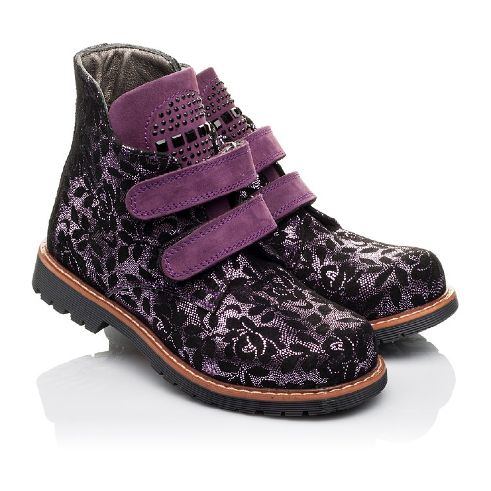Детские демисезонные ботинки Woopy Orthopedic фиолетовые для девочек натуральный нубук размер 21-33 (3173) Фото 1