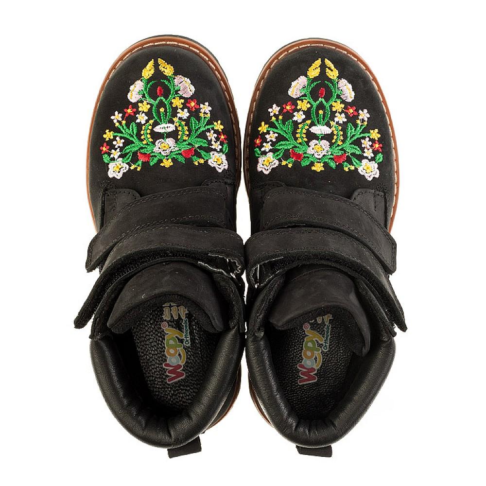 Детские демисезонные ботинки Woopy Orthopedic черные для девочек натуральный нубук размер 26-39 (3174) Фото 5