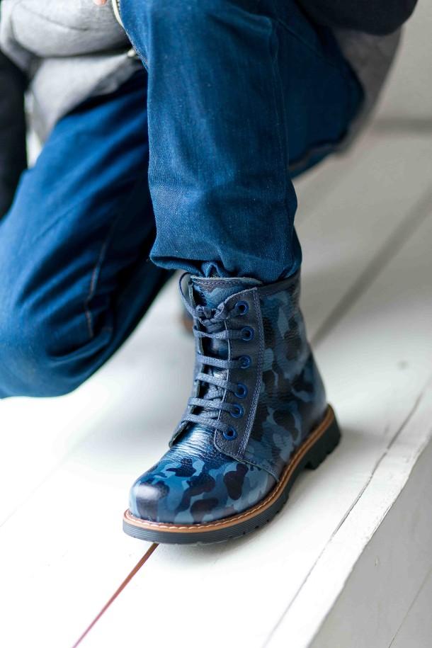 Девочка обута в детские демисезонные ботинки Woopy Orthopedic синие (3176) Фото 2