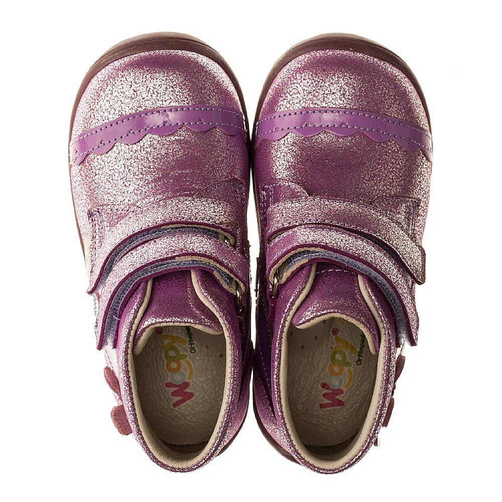 Детские демисезонные ботинки Woopy Orthopedic фиолетовые для девочек натуральная кожа размер 19-25 (3196) Фото 5