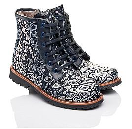 Детские зимние ботинки Woopy Orthopedic темно-синие для девочек  натуральная кожа размер - (3201) Фото 1