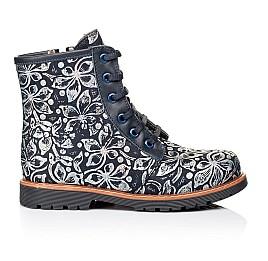 Детские зимние ботинки Woopy Orthopedic темно-синие для девочек  натуральная кожа размер - (3201) Фото 4