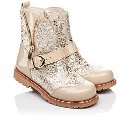 Детские демисезонные ботинки Woopy Orthopedic бежевые для девочек натуральная кожа / лаковая кожа размер 26-28 (3211) Фото 1