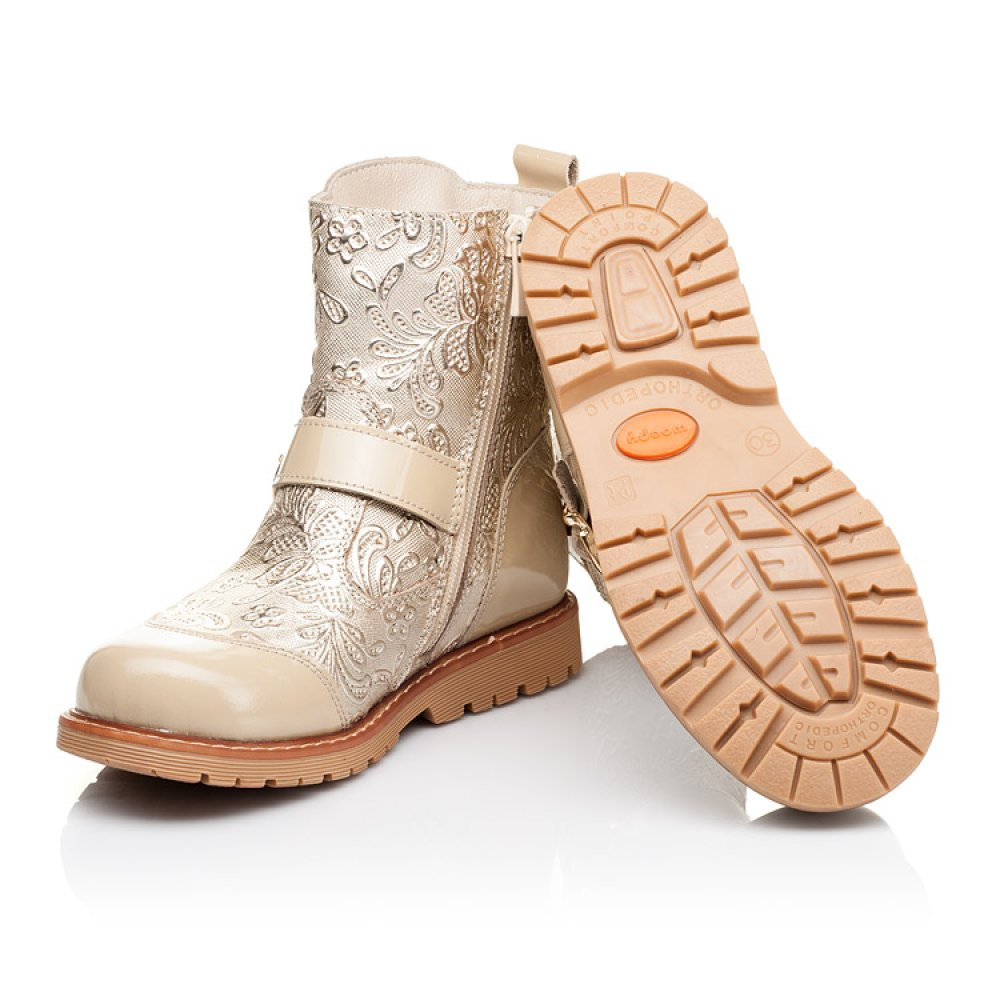 Детские демисезонные ботинки Woopy Orthopedic бежевые для девочек натуральная кожа / лаковая кожа размер 26-30 (3211) Фото 2