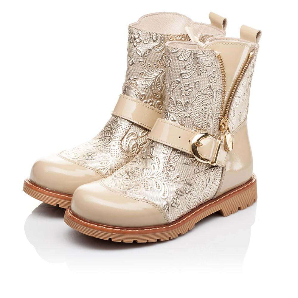 Детские демисезонные ботинки Woopy Orthopedic бежевые для девочек натуральная кожа / лаковая кожа размер 26-30 (3211) Фото 3