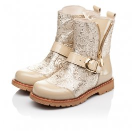 Детские демисезонные ботинки Woopy Orthopedic бежевые для девочек натуральная кожа / лаковая кожа размер 26-28 (3211) Фото 3