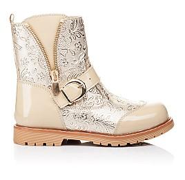 Детские демисезонные ботинки Woopy Orthopedic бежевые для девочек натуральная кожа / лаковая кожа размер 26-28 (3211) Фото 4