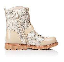Детские демисезонные ботинки Woopy Orthopedic бежевые для девочек натуральная кожа / лаковая кожа размер 26-28 (3211) Фото 5