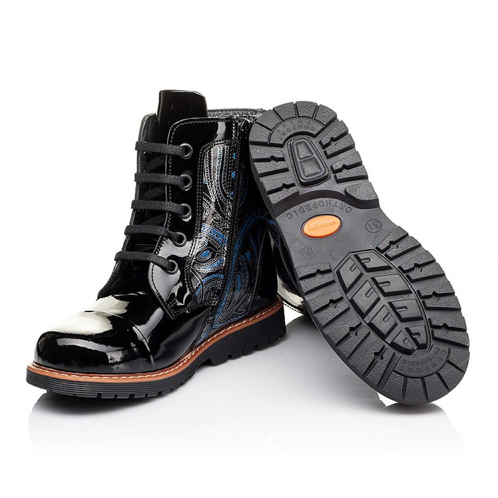 Детские демисезонные ботинки Woopy Orthopedic черные для девочек натуральная лаковая кожа размер 25-38 (3212) Фото 2
